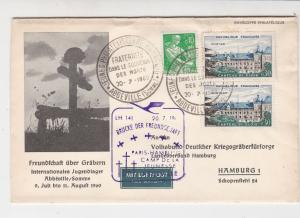 France 1960 Rememberance of Dead Airmail Abbeville Cancel Stamps Cover Ref 29819