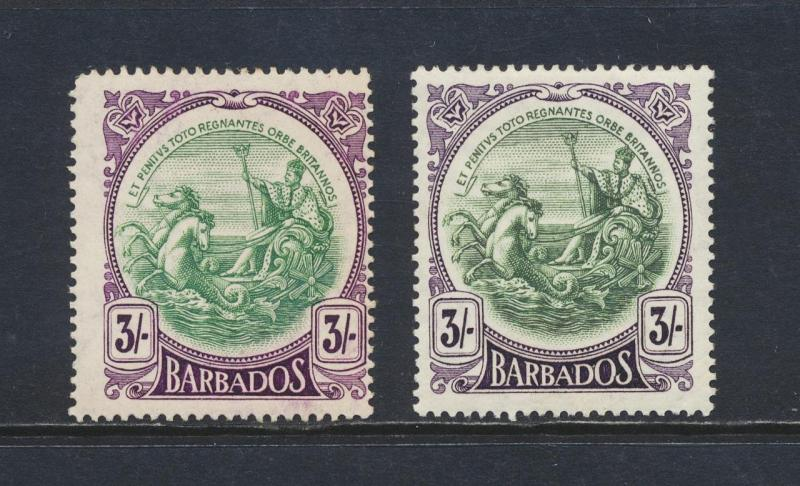 BARBADOS 1918, 3sh BOTH SHADES, VF MLH SG#200/200a CAT£280 $380 (SEE BELOW