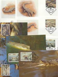 Bangladesh 8 FDC/cards WWF/Reptiles 1990