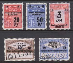 Germany, Hamburg, 1961 Court Fee revenues, 5 different, used, sound, F-VF.