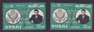 Dubai M# 144A-144B, John F. Kennedy, Perf & Imperf, NH,
