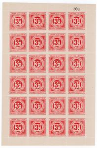 (I.B) Cavan & Leitrim Railway : Letter Stamp 3d (complete sheet)