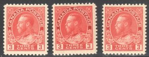 Canada VF NH #109- 109c, d, (All in perfect condition with nice centering)
