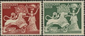 Stamp Germany Mi 816-7 Sc B206-7 WWII 3rd Reich War Goldsmith Nuremberg MNG