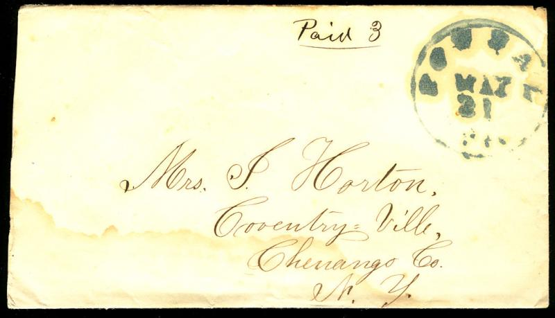 #STAMPLESS COVER, Powell, Vt, Paid 3 written in black ink, Blue hand cancel, ...