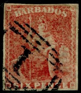 BARBADOS SG11, 6d pale rose-red, used. Cat £120.