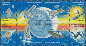 Stamp US Sc 1912-9 Block 1981 Space Achievement Shuttle Astronaut Moon Ship MNH