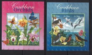 St Kitts, 2001 Birds, Butterflies, Flowers, issued in sheetlets, MNH