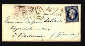 France 1856 Letter Cover / Paris to Bordeaux - Z15687