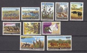 J27591 1965 rwanda set mh #99-108 wildlife