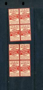 8 VINTAGE 1912 BOSTON ELECTRIC SHOW POSTER STAMPS (L893) BOSTON MASSACHUSETTS