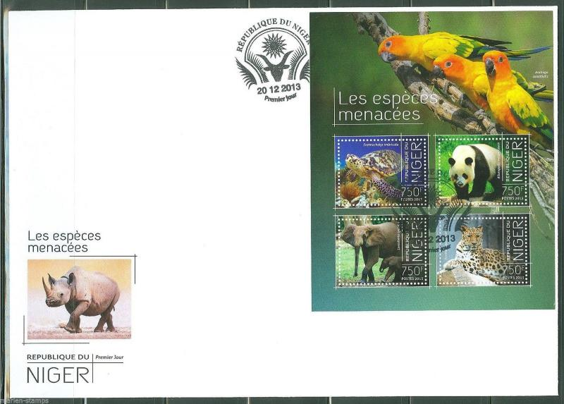 NIGER  2013 ENDANGERED SPECIES SHEET FIRST DAY COVER