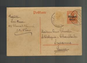 1917 Belgium Germany Occupation Postcard Cover to Lucerne Switzerland