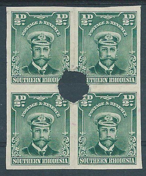 SOUTHERN RHODESIA GV Admiral ½d Imperf PROOF block with security punch.....48576
