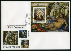 SAO TOME 2021 115th MEMORIAL OF PAUL CEZANNE PAINTINGS S/SHEET FIRST DAY COVER