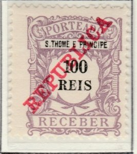 Portugal ST. THOMAS AND PRINCE ISLANDS 1911 100r MH* A5P55F30