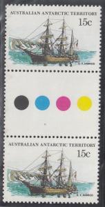 Australian Antarctic Terr, MNH, L41, 1974-81, Ship - Gutter Pair, (AA00634)
