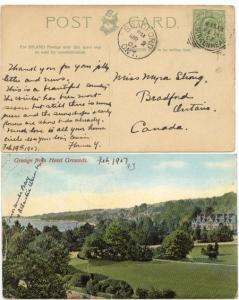 GB to Canada - 1907 View Card w Birkenhead Sq. Circle