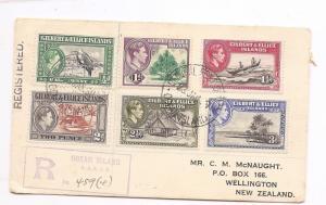 Gilbert & Ellice 1939 KGVI set registered cover from Ocean Island (bag)
