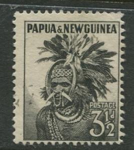 Papua New Guinea - Scott 139 - Chimbu Headdress -1958 - Used - Single 3.5p Stamp