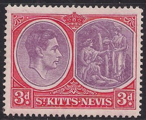 St Kitts & Nevis 1938 - 50 KGV1 3d Red Lilac & Scarlet MM SG 73c ( J1079 )