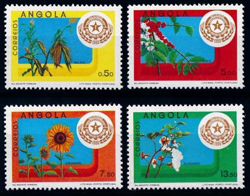 [66561] Angola 1980 Flora Plants Cotton Sunflower Coffee From Set MNH