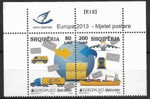[E12] Albania -Europa 2013, Postal vehicles, MiNr.3427-28,GimNr. 3583-84,MNH
