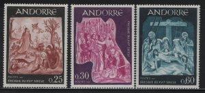 ANDORRA, 178-180, MNH, 1967, 16TH CENTURY FRESCOES