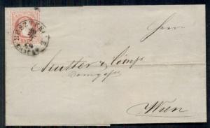 AUSTRIA 5kr, 1869, tied BESZTERCE to WIEN