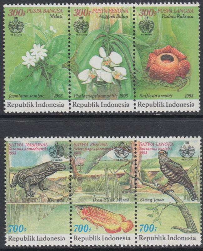 XG-AN872 INDONESIA - Nature, 1993 Flowers, Wild Animals, 2 Strips MNH Set
