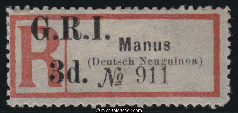 1915 New Guinea Registration Label surcharged GRI 3d for MANUS, SG 39 MH