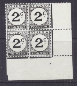St. LUCIA, POSTAGE DUE, 1952 Chalky paper, 2c. Black, corner block of 4, mnh.