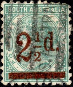 SOUTH AUSTRALIA - 1891 - SG229 2-1/2d on 1d blue-green p.10 - Fine Used