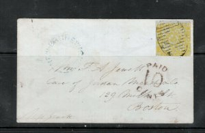 New Brunswick #2 Used Fine On Cover To Boston With Nice PAID 10 Cents Marking