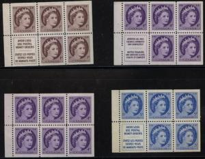 Canada - QE Wilding Set of 4 Diff. Booklet Panes VF-NH