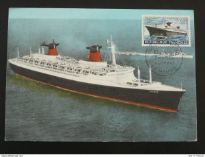 ship paquebot France French Line maximum card 1962