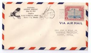 Airport Dedication Cover Legion Airport Haines City FL 1931