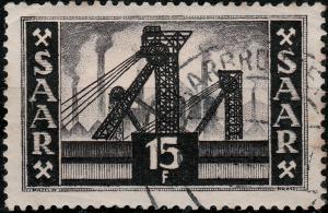 SAAR / SAARLAND - 1952 - Mi.327 15fr black Coal mine (no legend) - VFU