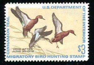 #RW38 US Federal Duck Stamp 1971 Cinnamon Teal Small Gum Disturbance