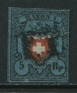 Switzerland 1850 5 rappen deep blue without frame around cross lightly used