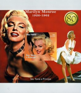 Sao Tome and Principe 2006 Marilyn  Monroe 80th.Annv.S/S Imperforated MNH