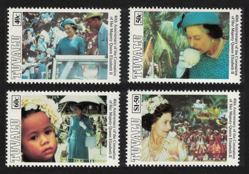 Tuvalu 40th Anniversary of Coronation 4v 1993 MNH SG#677-680