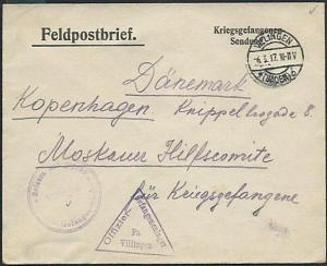 GERMANY 1917 P.O.W. cover to Red Cross, Copenhagen.................38675
