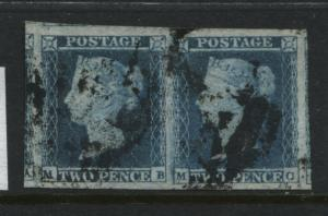 GB QV 1841 2d Blue Pair MB-MC Plate 4 Superb!