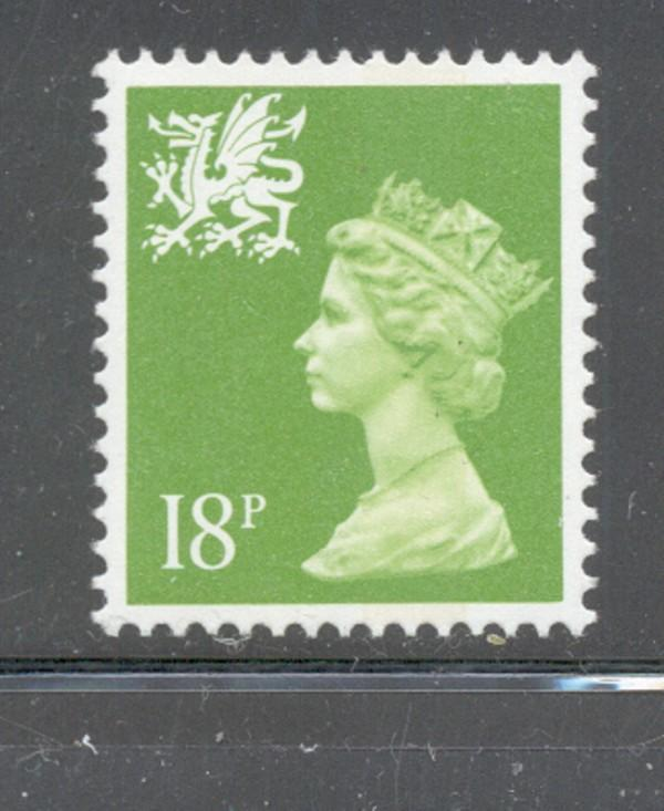 GB Wales SC WMMH44 1991 18p brt yel grn Machin Head stamp NH