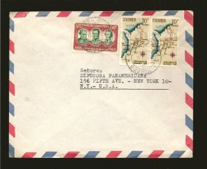 Colombia C380 & C390x2 on Postmarked 1963 Bogata Air Cover to USA