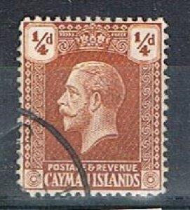 CAYMAN ISLANDS 171258 - 1921-26 KGV 1/4d defin used - nib fault
