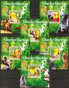 {452} Comoros 2009 C. Darwin Birds Monkeys 6 S/S Deluxe MNH**