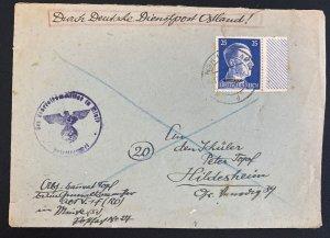 1944 Minsk Belarus Ostland Germany Diesntpost cover To Hildesheim