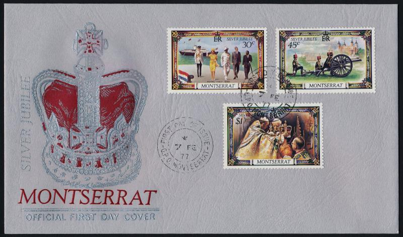 Montserrat 363-5 on FDC - Queen Elizabeth Silver Jubilee, Ship, Cannon